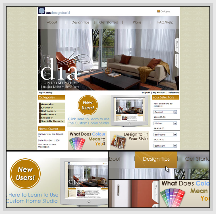 Dia Custom Home Studio (2005) - Web & Graphic Design, HTML, CSS, Flash, Actionscript, PHP