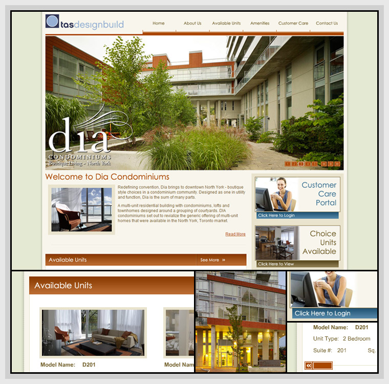 Dia Condominiums (2007) - Web & Graphic Design, HTML, CSS, Flash, Actionscript, XML