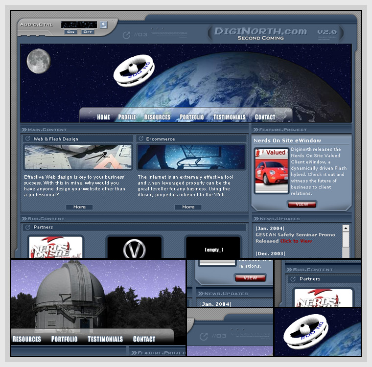 DigiNorth (2003) - Web & Graphic Design, Flash, Actionscript, XML, JavaScript