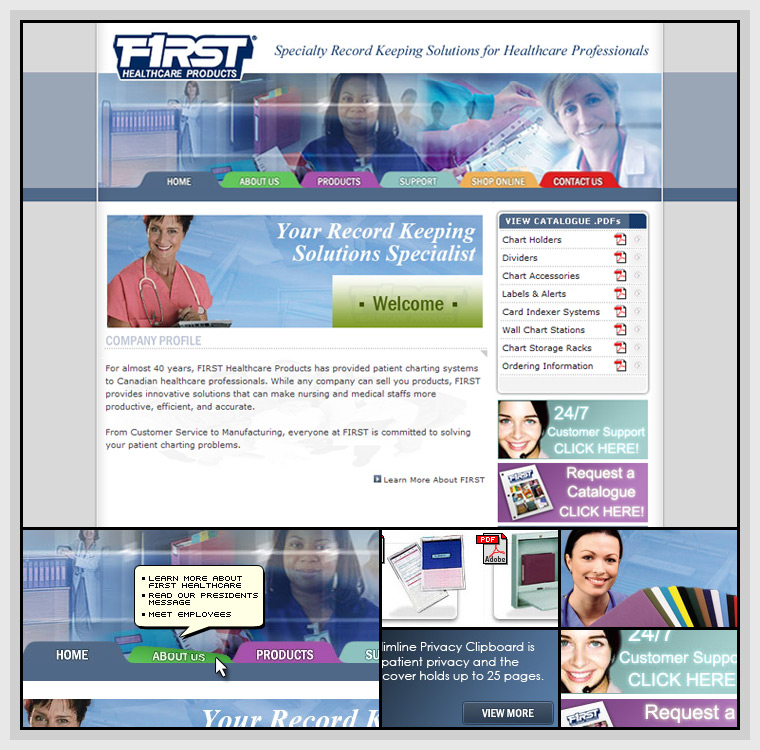 First Healthcare (2005) - Web & Graphic Design, HTML, CSS, PHP, JavaScript