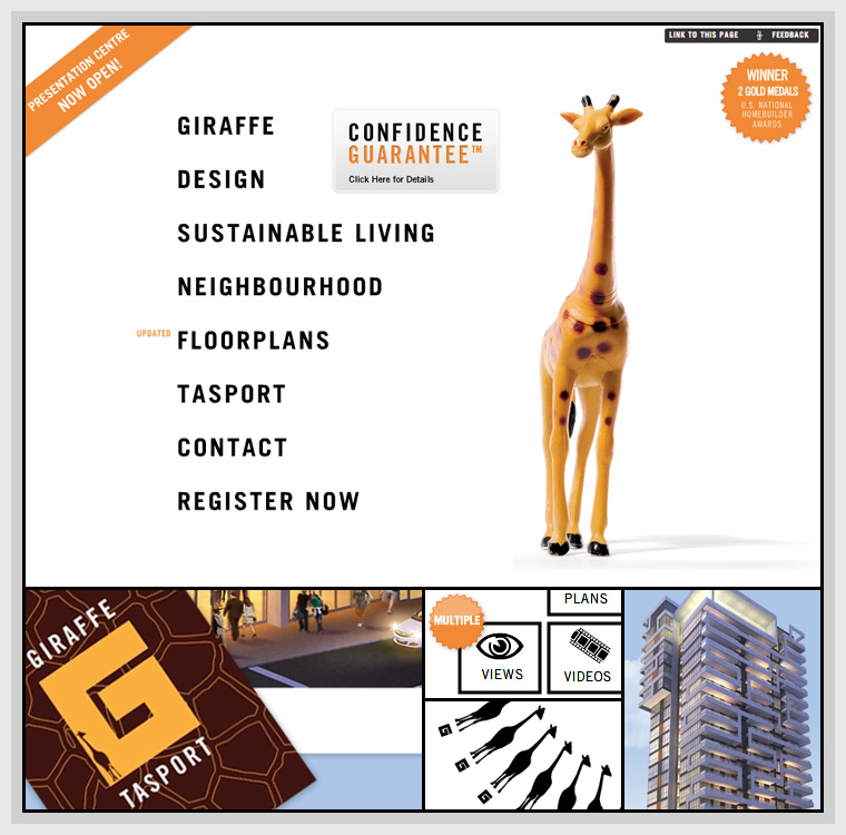 Giraffe Condominiums (2008) - Web & Graphic Design, Flash, Actionscript, XML, AMFPHP, SWFAddress, SWFObject