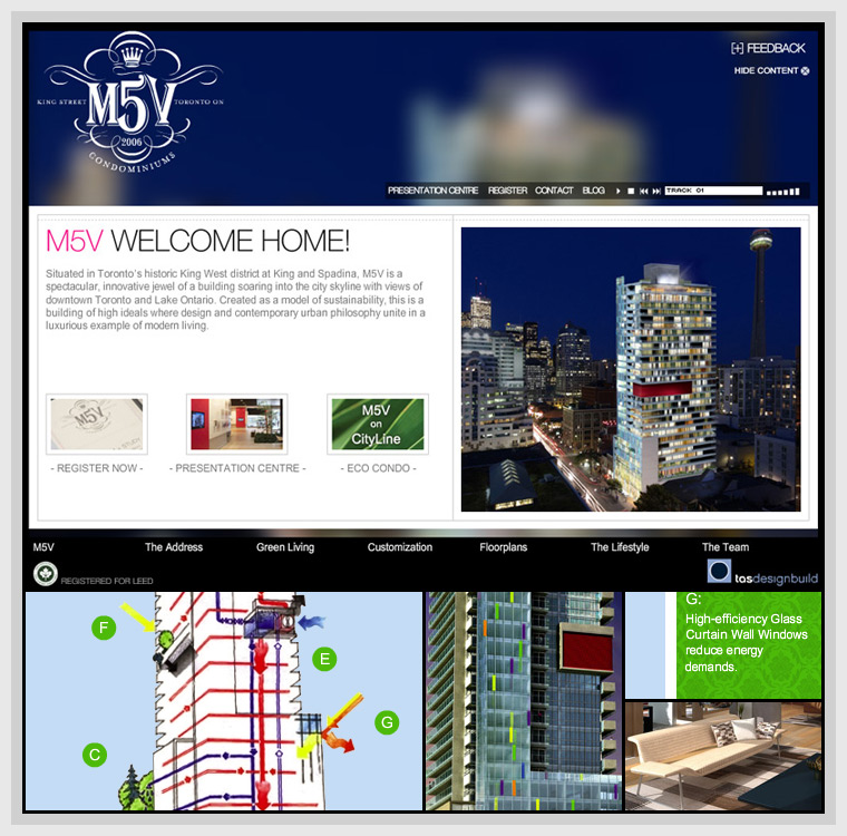 M5V Condominiums (2006) - Web & Graphic Design, Flash, Actionscript, XML