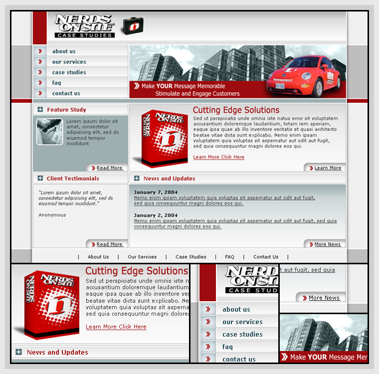 Nerds On Site Case Studies (2004) - Web & Graphic Design, HTML, CSS, Flash, Actionscript, After Effects, JavaScript