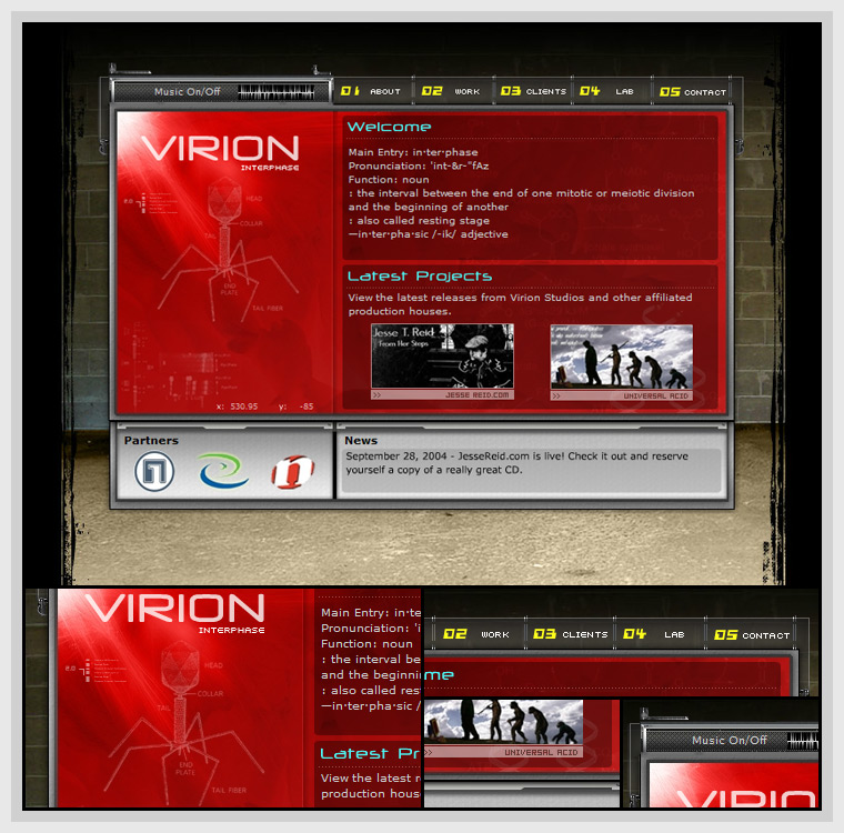 Virion: Interphase (2004) - Web & Graphic Design, Flash, Actionscript, XML, After Effects, JavaScript